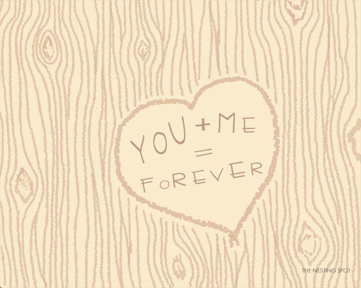 You + Me = Forever, Faux Bois Print from The Nesting Spot