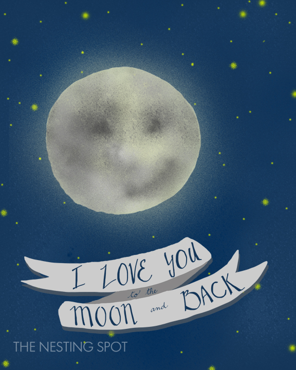 I Love You to the Moon and Back art print from The Nesting Spot