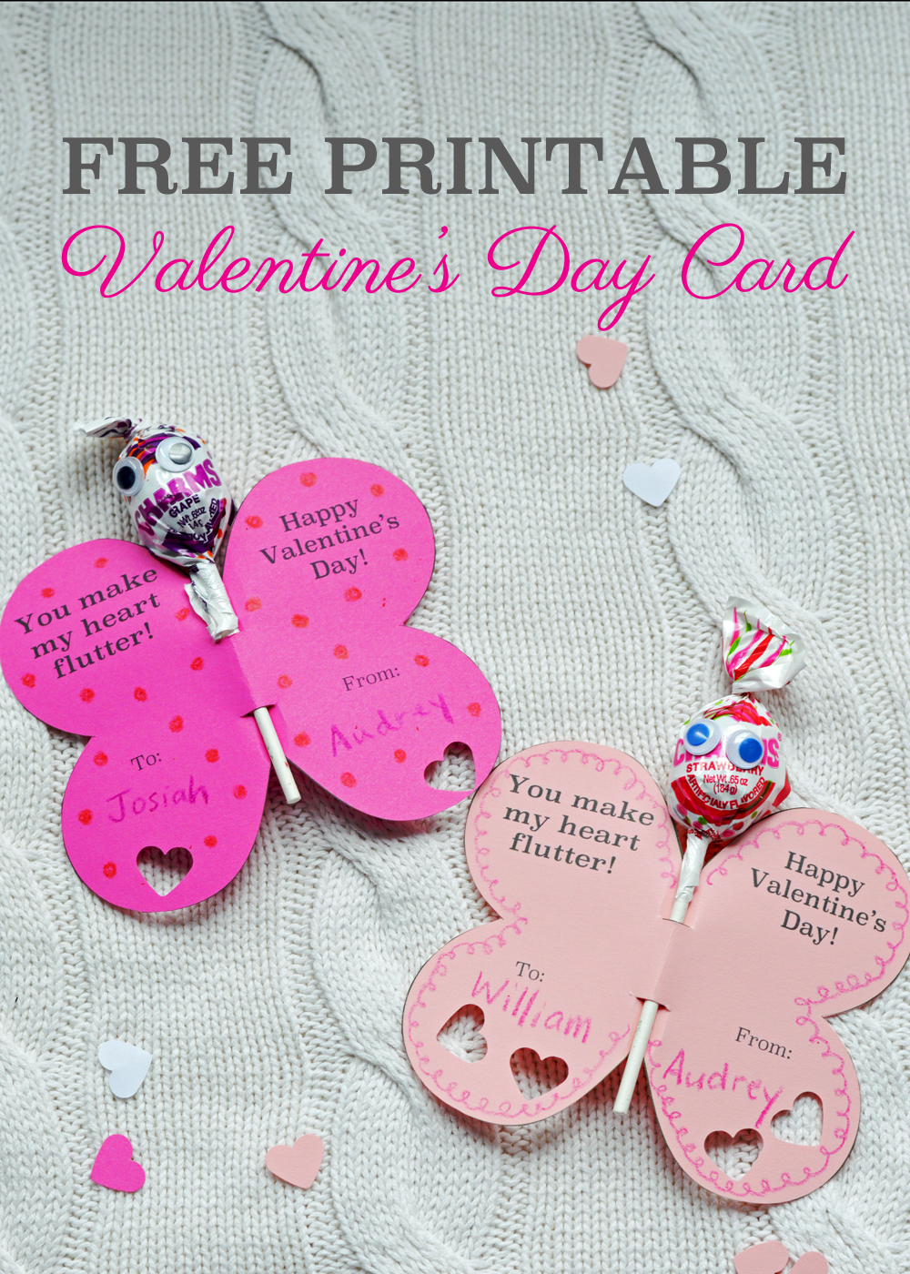 Free Printable Butterfly Valentines Day Card from The Nesting Spot