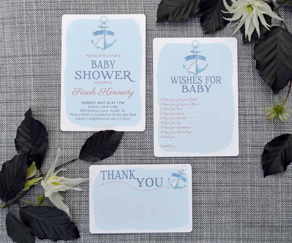 Custom Printable Anchor Invitation Set from The Nesting Spot