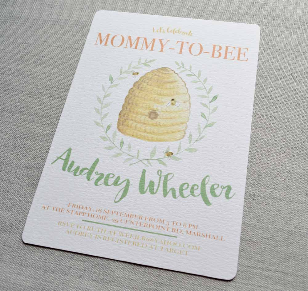 Watercolor Bee Invitation from The Nesting Spot