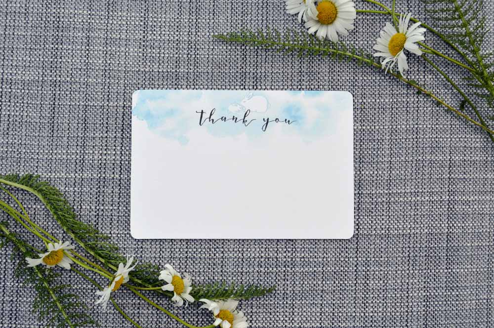 Printable Blue Bunny Thank You Card from The Nesting Spot