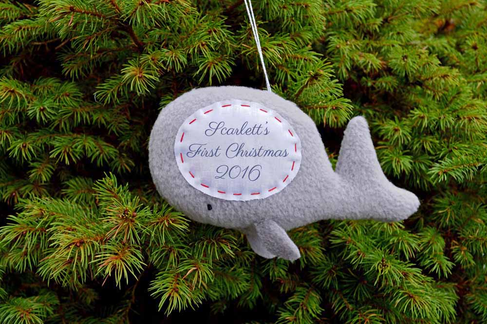 Personalized Whale Ornament from The Nesting Spot