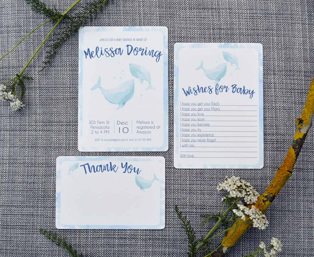 Whale Printable Invitation Set from The Nesting Spot