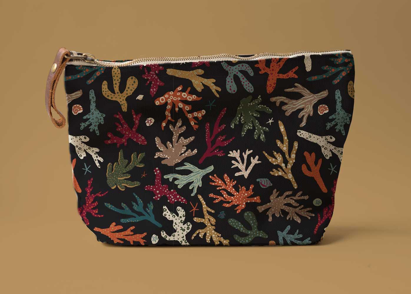 Coral Surface Pattern Design on Makeup Bag