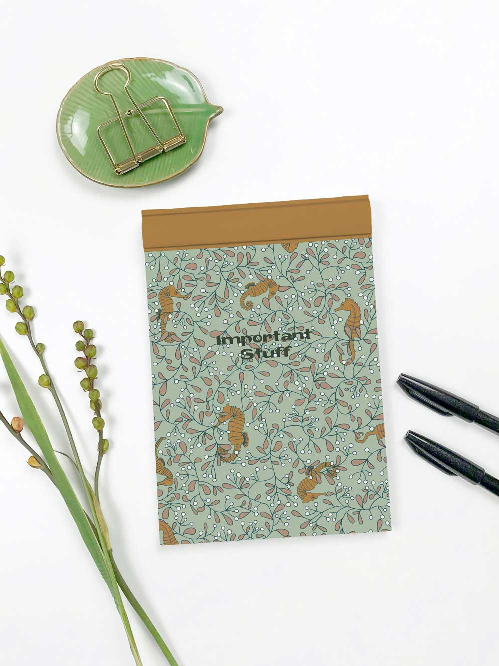 Seahorse Surface Pattern Design on Notebook